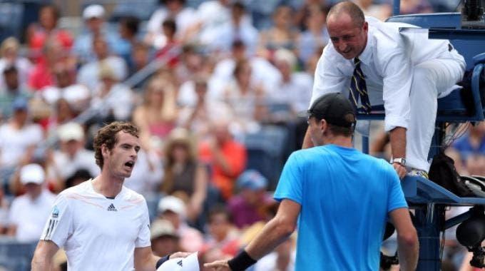 Andy Murray e Tomas Berdych polemizzano dopo un punto durante la semifinale degli US Open 2012 (Photo by Clive Brunskill/Getty Images)