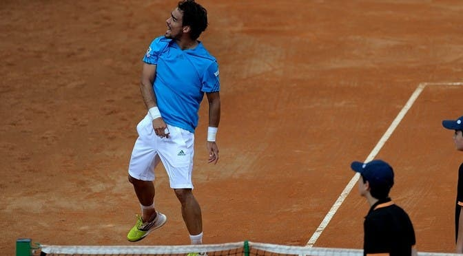 Fognini esulta, ha battuto Murray in tre set, Coppa Davis 2014 (Photo by VINCENZO ARTIANO)
