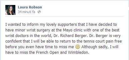 Laura Robson   Facebook