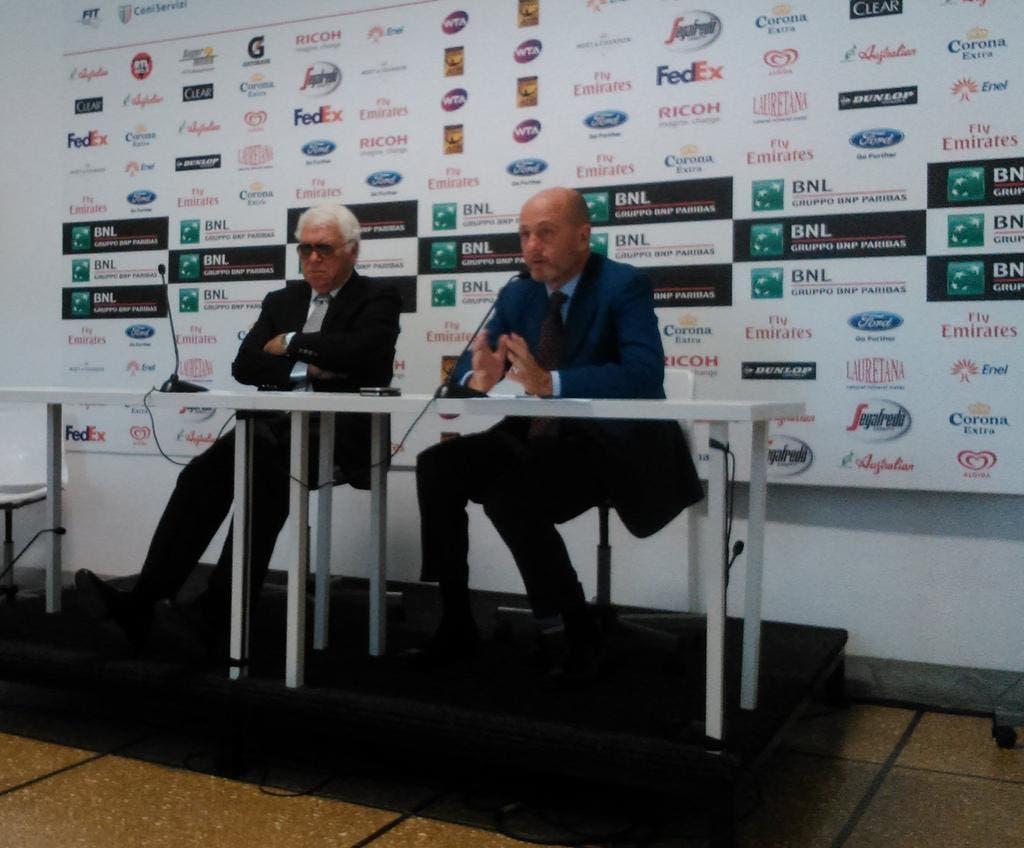 Nicola Pietrangeli e Angelo Binaghi a Roma in conferenza stampa (foto D. FLAVI)