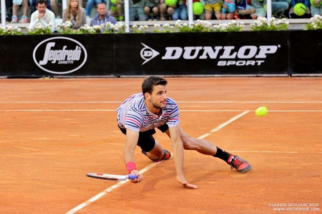 Dimitrov si procura il matchpoint contro Berdych con una epica volée in tuffo (foto C. GIULIANI)