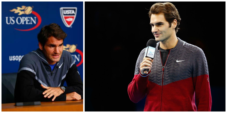 Il maglione di Roger Federer agli US Open a sx, a dx alle ATP Finals