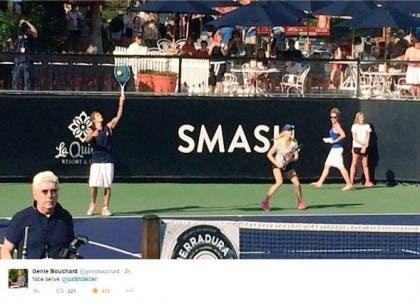 Eugenie-Bouchard-playing-tennis-with-Justin-Bieber
