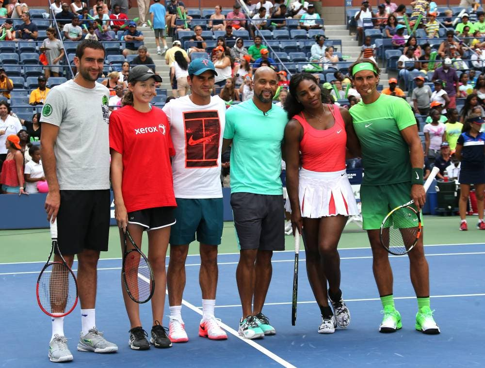 Cilic, Federer, Serena Williams e Nadal con Shaun Thompson - US Open 2015 (foto di Art Seitz)