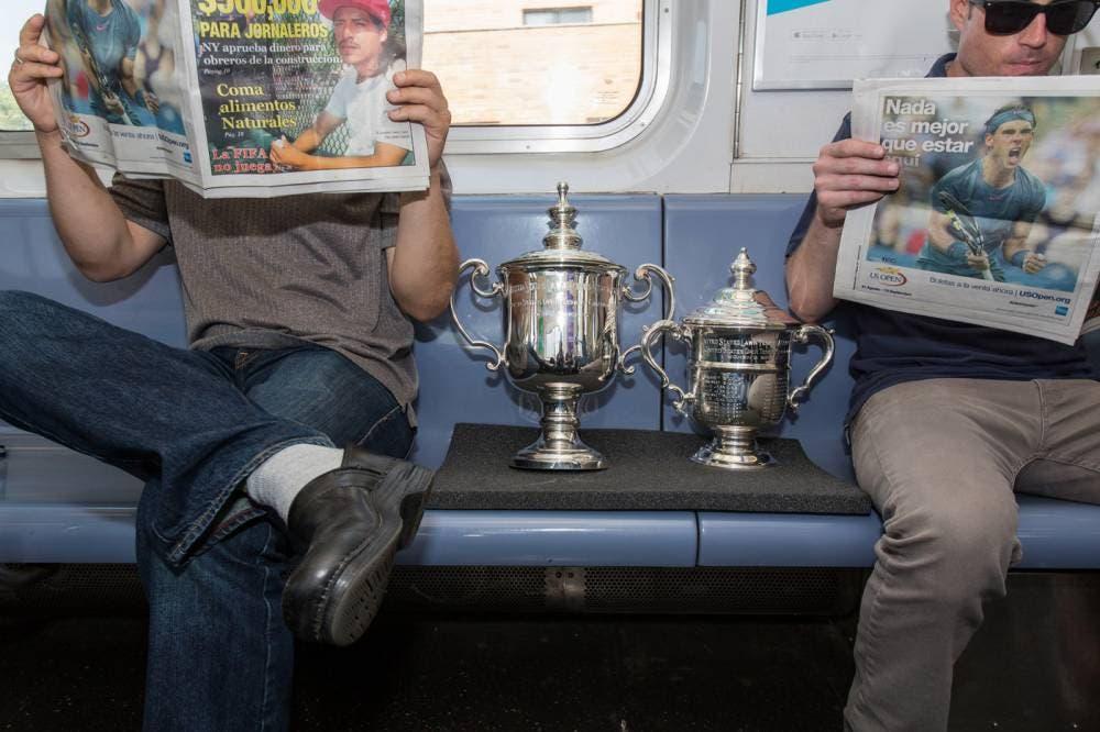 I trofei dello US Open, NYC subway