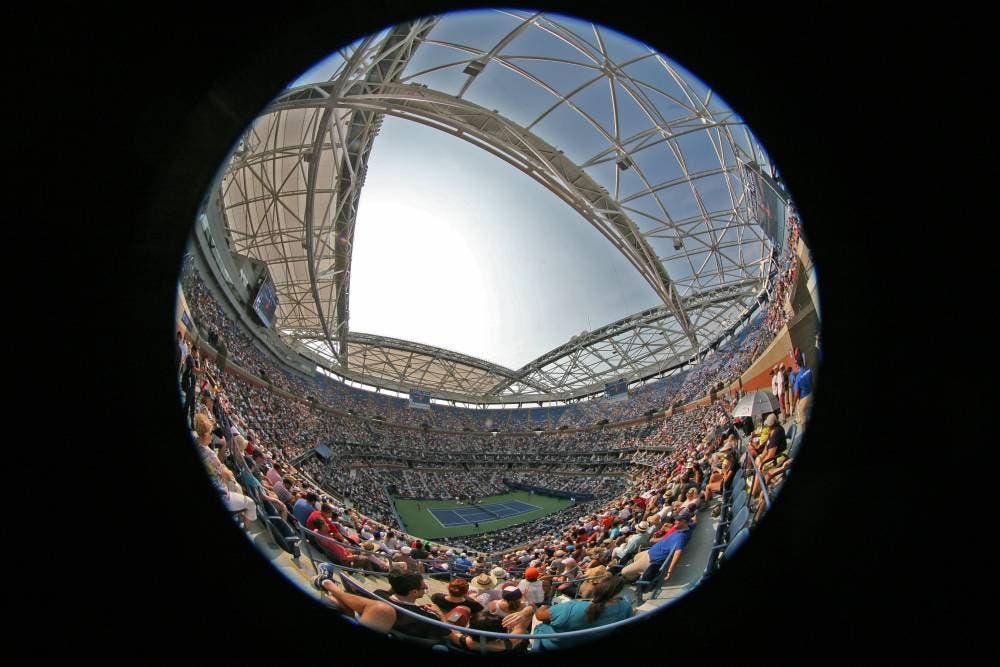 Fisheye view of Arthur Ashe Stadium - US Open 2015 (photo by Art Seitz)