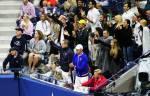 Il player box di Novak Djokovic festeggia - F US Open 2015 (foto di Art Seitz)