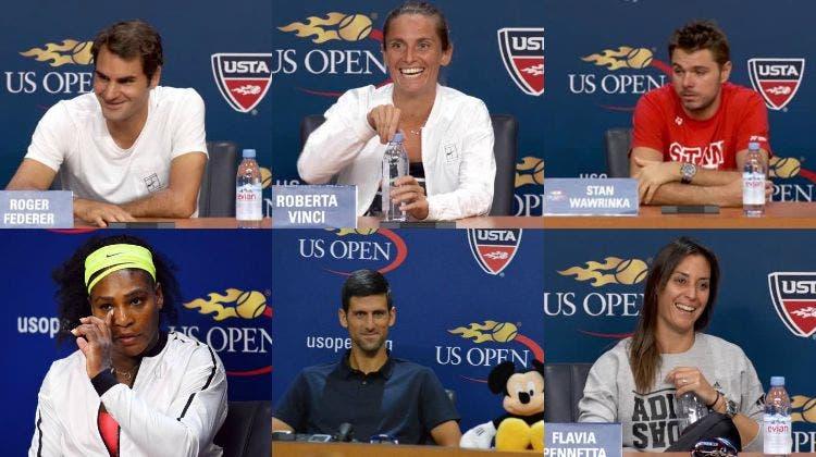 Roger Federer, Roberta Vinci, Stan Wawrinka, Serena Williams, Novak Djokovic e Flavia Pennetta