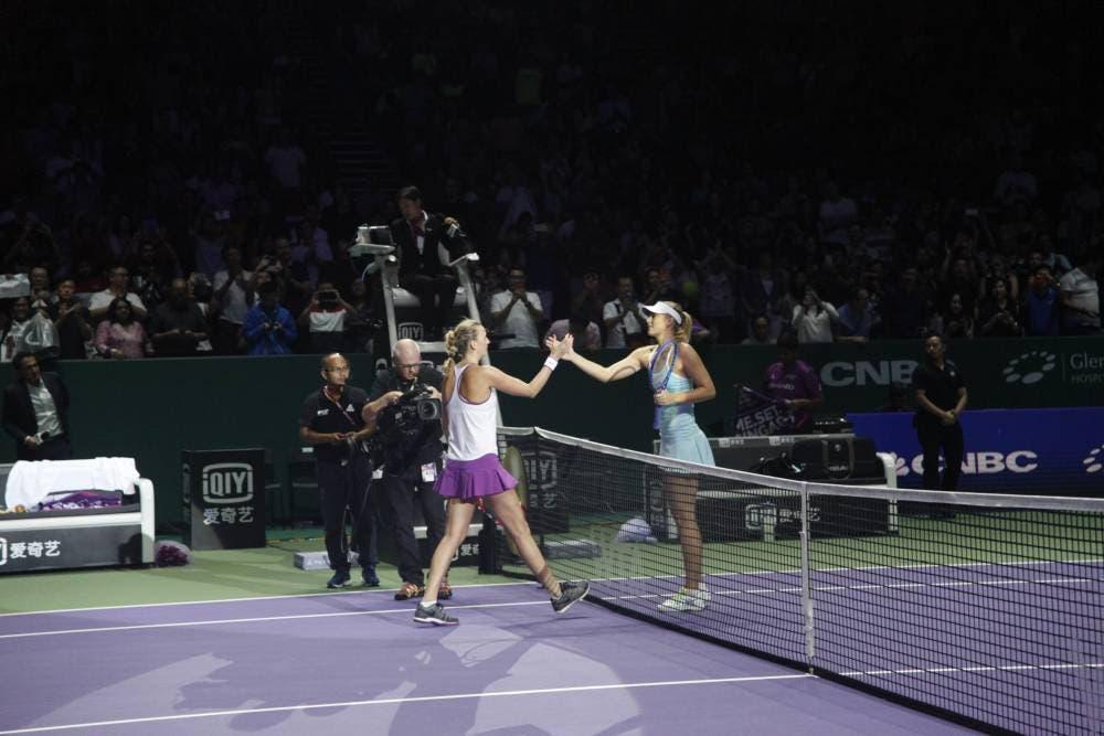Petra Kvitova e Maria Sharapova - Singapore 2015 (foto di Philip Cho)