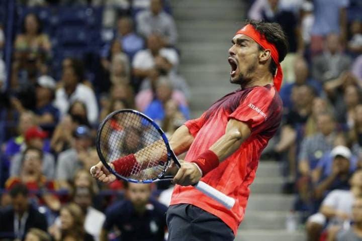 Fabio Fognini festeggia la vittoria su Nadal agli US Open 2015