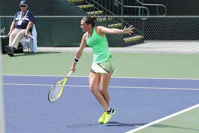 Roberta Vinci in azione contro Madison Brengle, Stadium 6, Indian Wells 2017