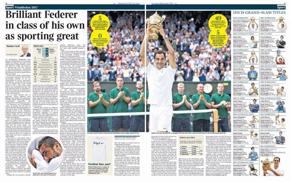 La stampa inglese celebra Roger Federer