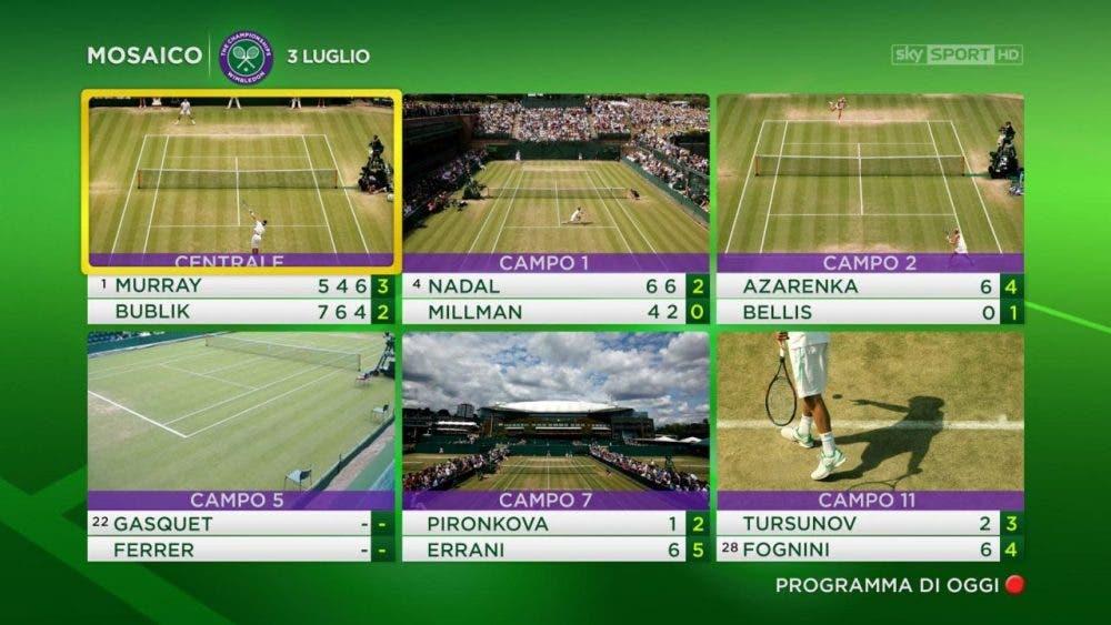 TV e Rete: Wimbledon su SKY Sport, mosaico con sei canali dedicati